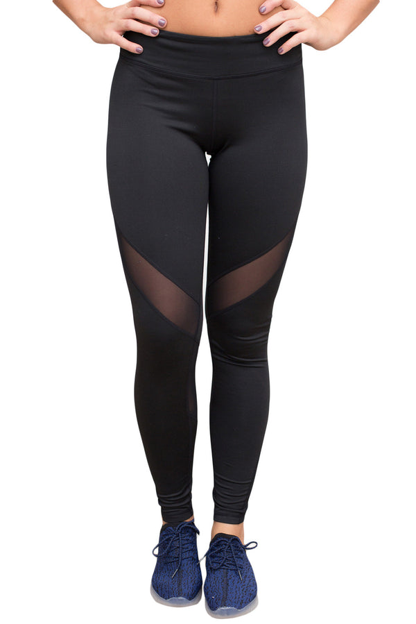 Black Mesh Insert Patchwork Sports Leggings