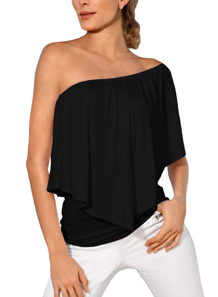 Black Multi-way Ruffle Women Top