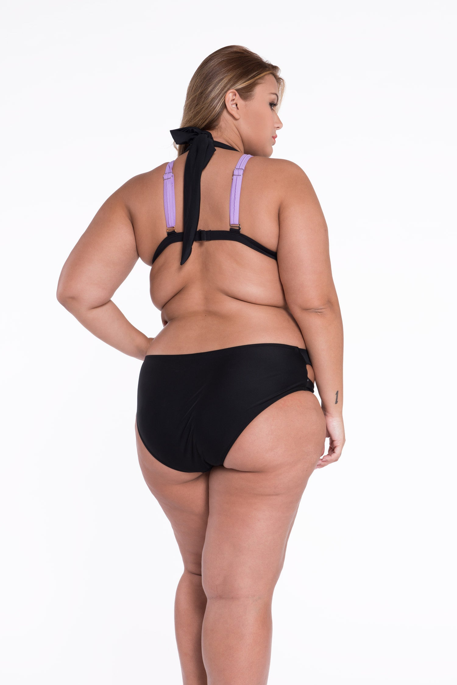 Black Purple Color Patched Push up Swimwear