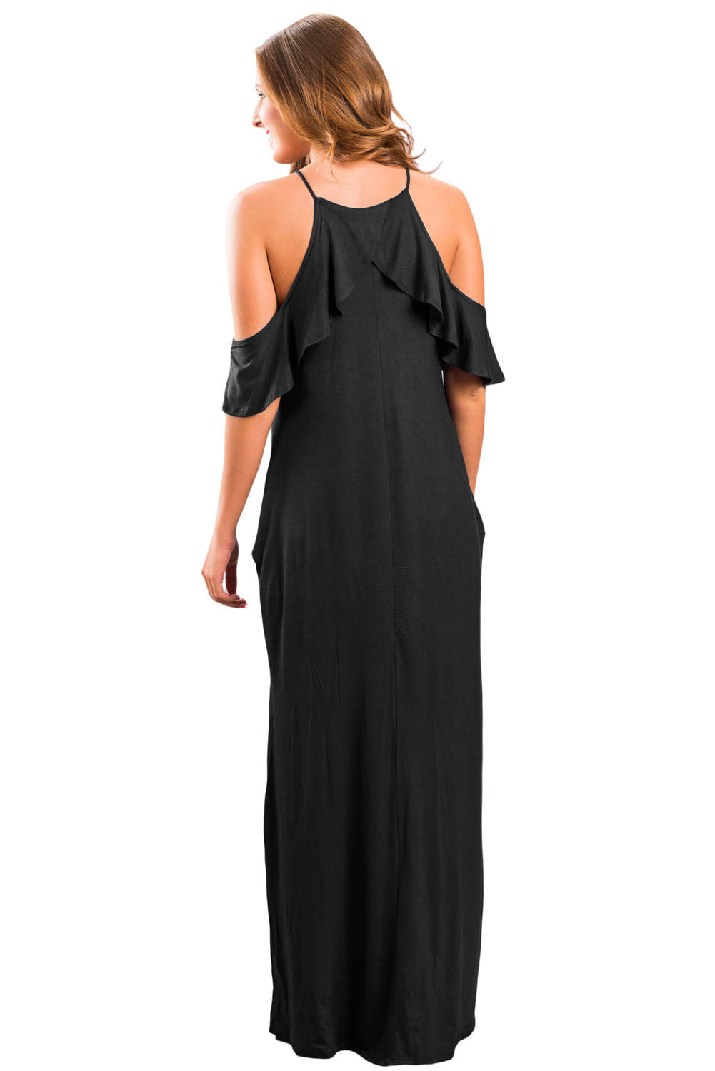 Black Ruffle Sleeve Cold Shoulder Maxi Dress