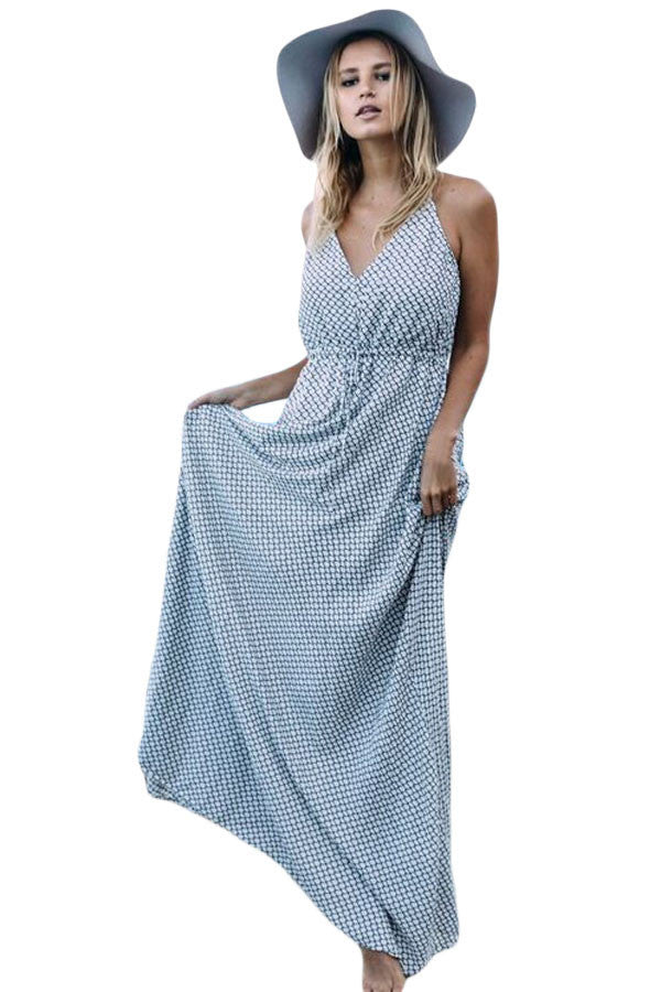 Fish Net Allover Printed Plunging Neck Maxi Dress
