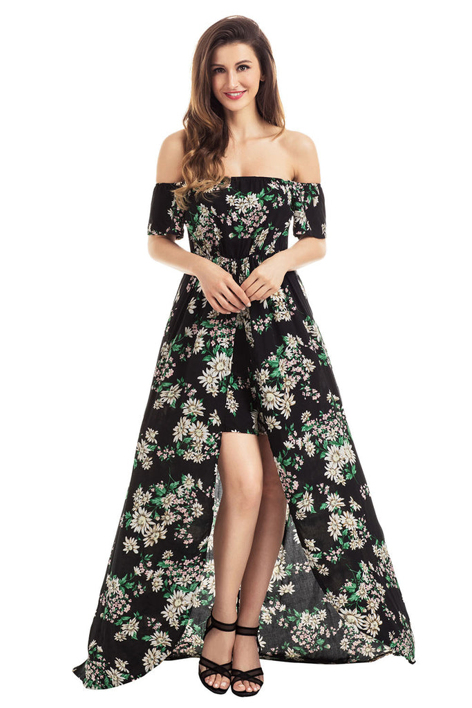 Black Vibrant Floral Romper Maxi Dress