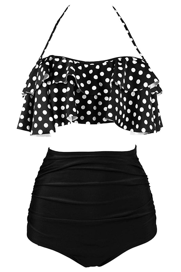 It's The Best Polka Dot Print High Waist Bikini Set