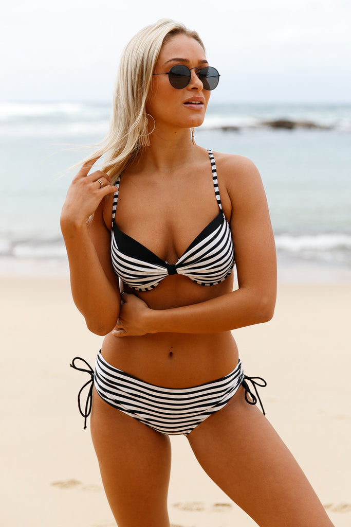 Black White Striped Push Up 2pcs Bikini Swimsuit