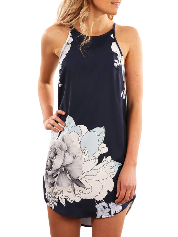 Blooming Peony Print Navy Sleeveless Dress