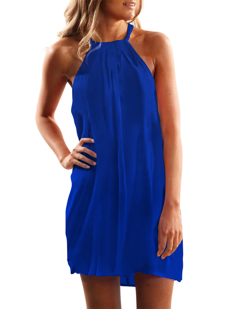 Blue Halter Sleeveless Casual Mini Dress