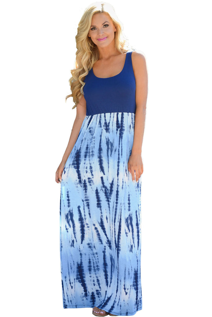 Blue Tie Dye Print Sleeveless Maxi Boho Dress