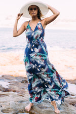 All Summer Long Palm Leaf Print Maxi Dress