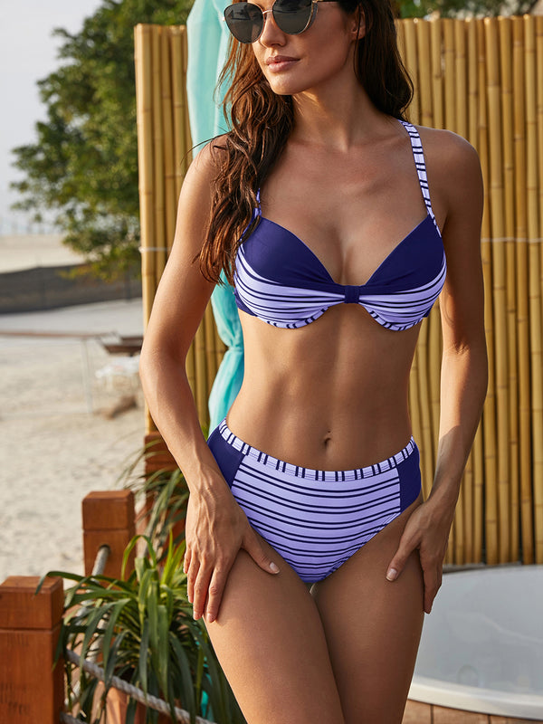 Blue Striped High Waist Two-Piece Bikini