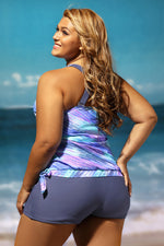 The First Impression Blouson Tankini with Grey Swim Bottom