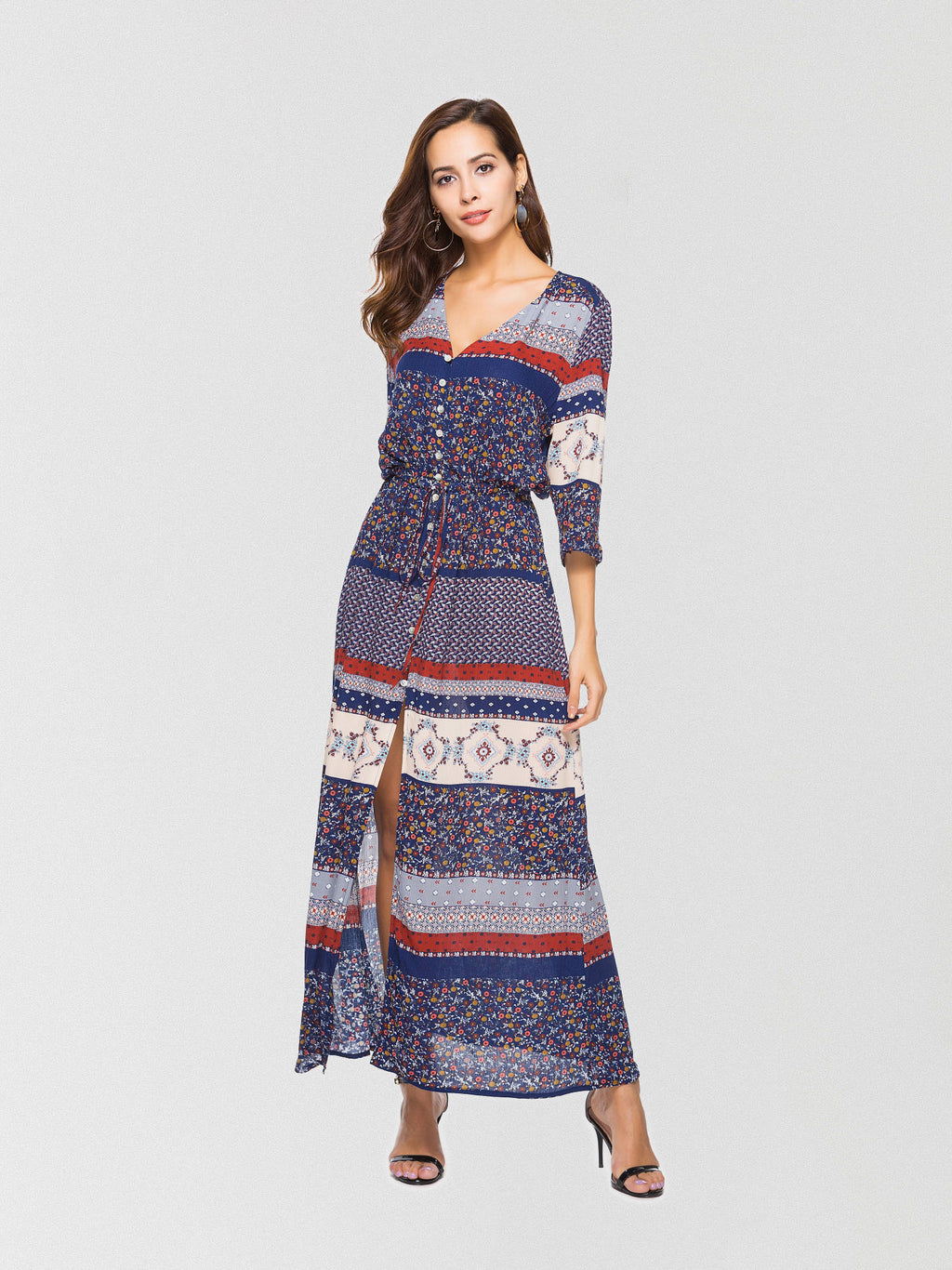 Bohemian-inspired maxi dress featured in a front button-down design with high slit trimming