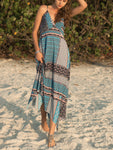 Boho Print Surplice Maxi Dress