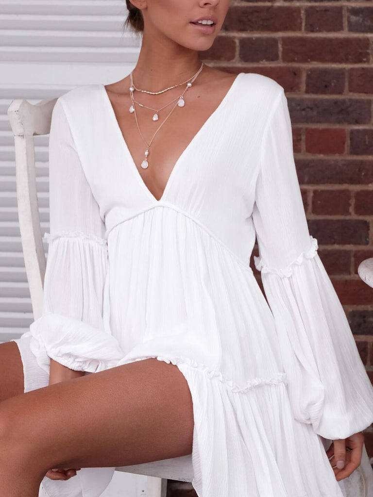 By Your Side Plunging Neck Ruffled Mini Dress