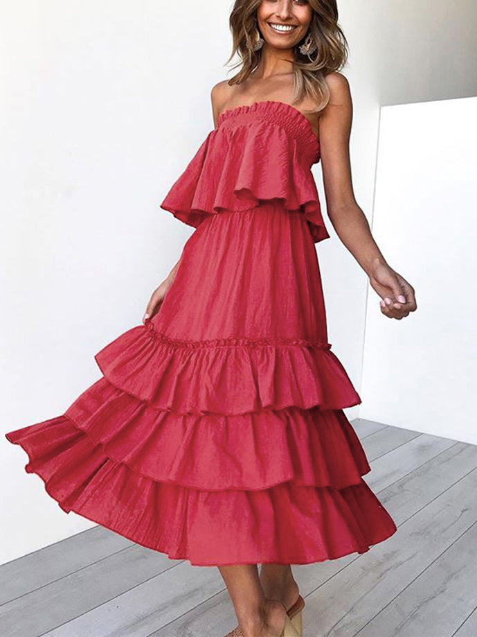 Love This Off-The-Shoulder Ruffled Midi Dress