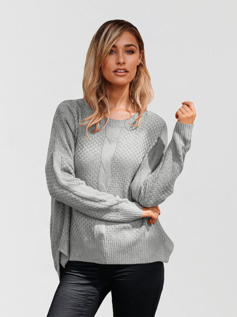 Cable Knit Oversize High-Low Sweater Pullover