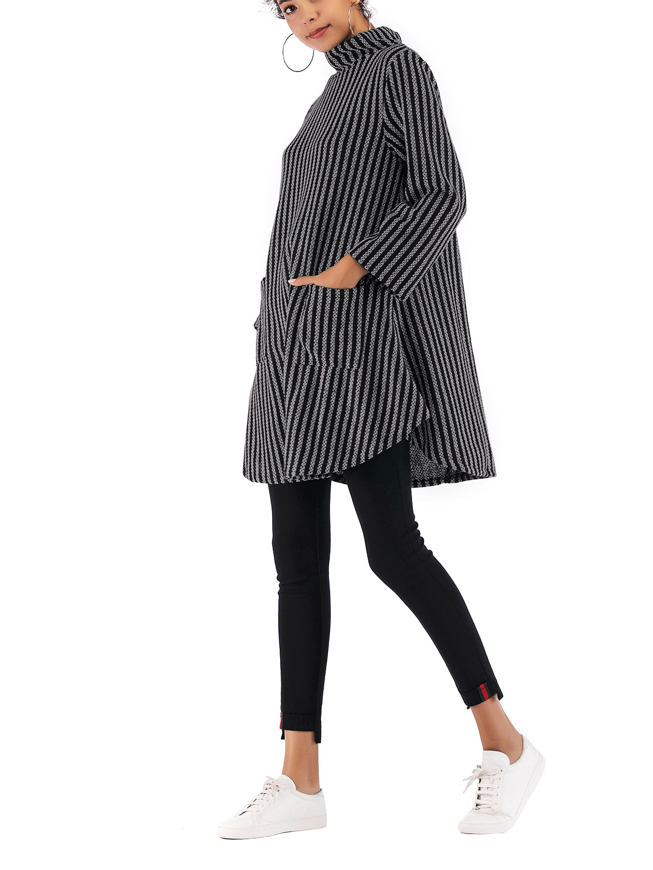 Camilla Striped Cowl Neck Slouchy Sweater Dress