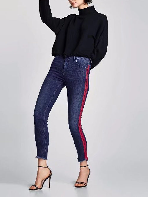 Casie Striped Raw Hem Crop Jeans
