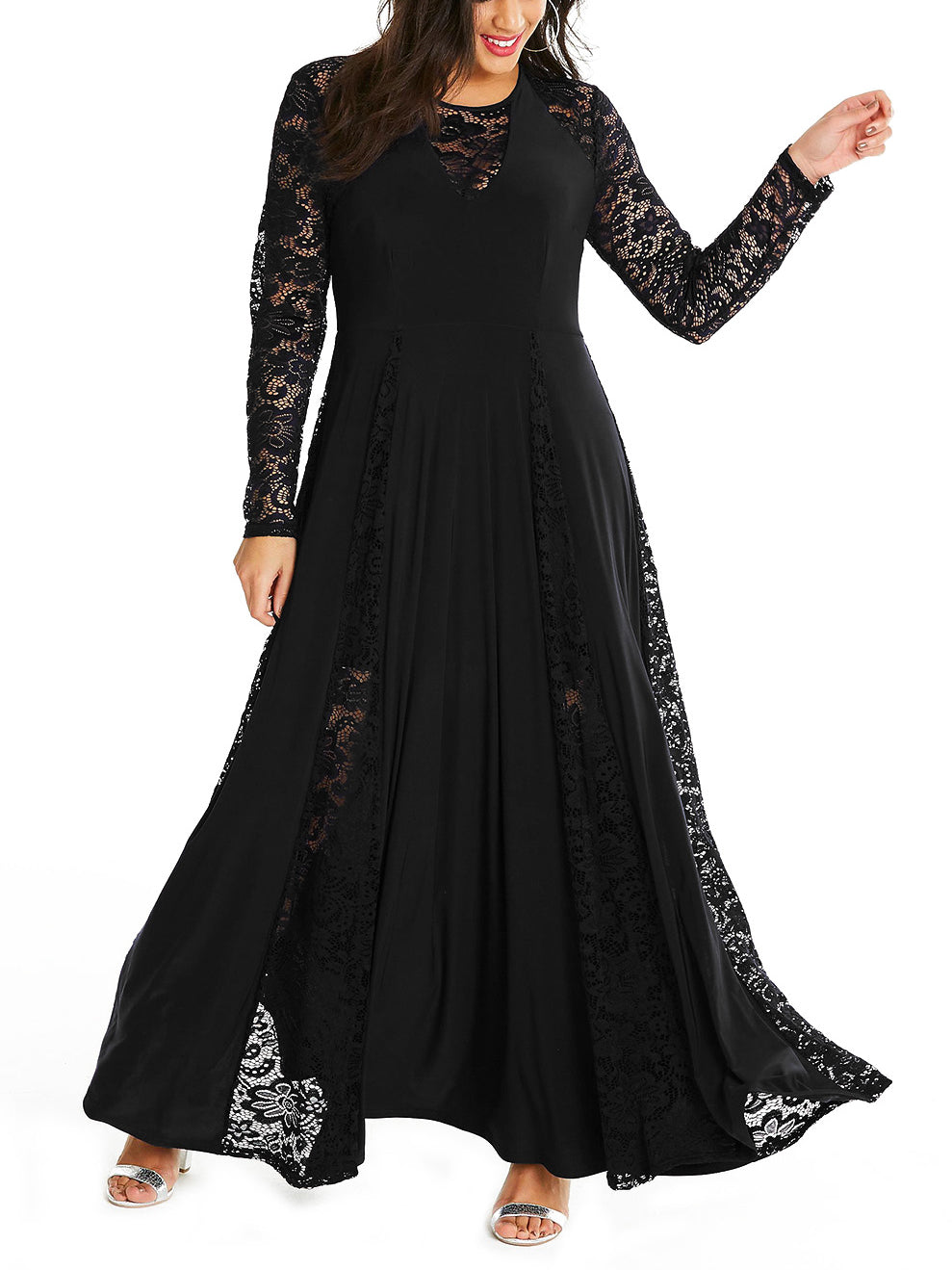 Catalina Plus Size Lace Embroidered Maxi Dress
