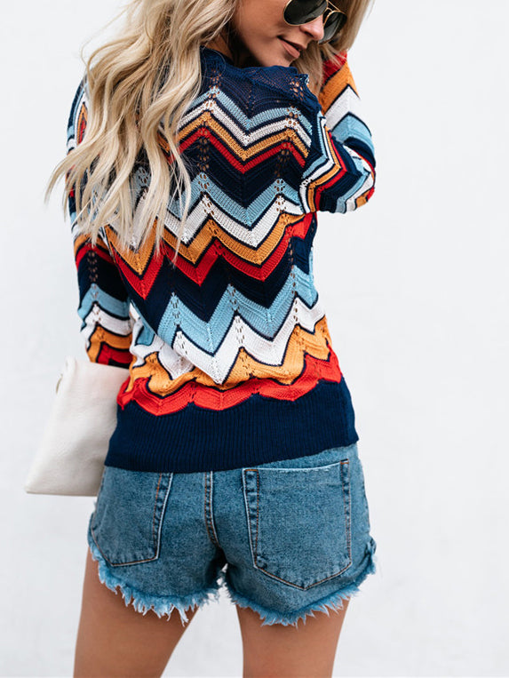City Vibes Vintage Zigzag Pullover Sweater Inxcy