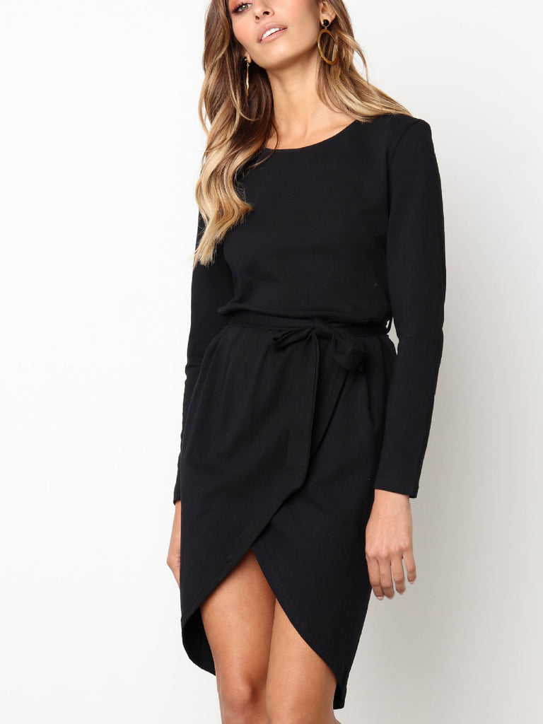 Cocktail Hour Boat Neck High-Low Dress