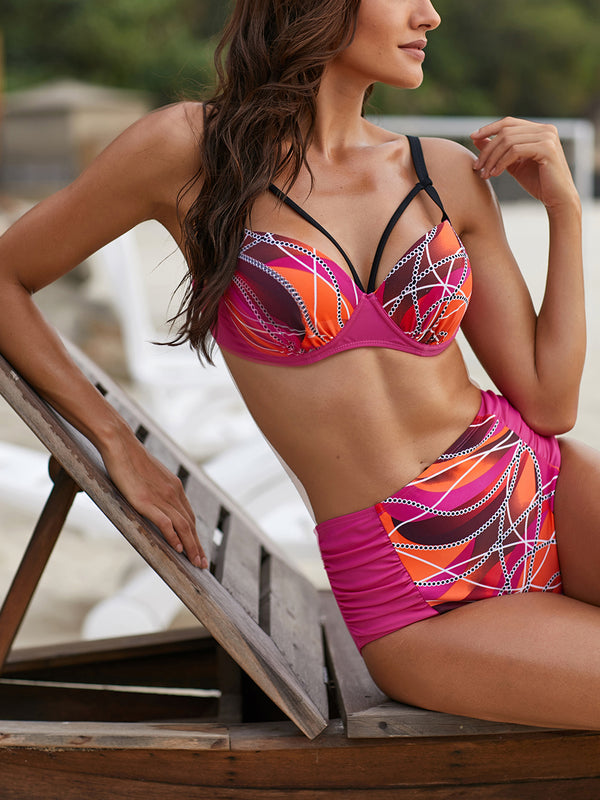 Color Block High-Waist Swimsuit Set