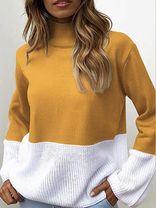 Color Block High Neck Pullover Sweater