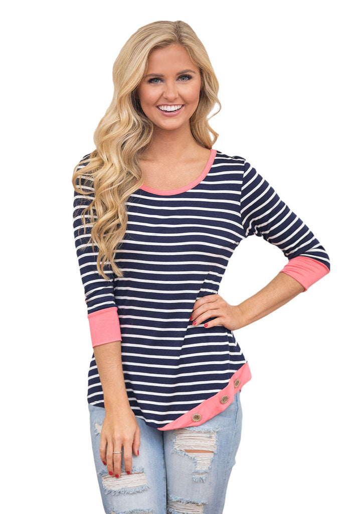 Coral Trim Accent Striped Side Button Blouse