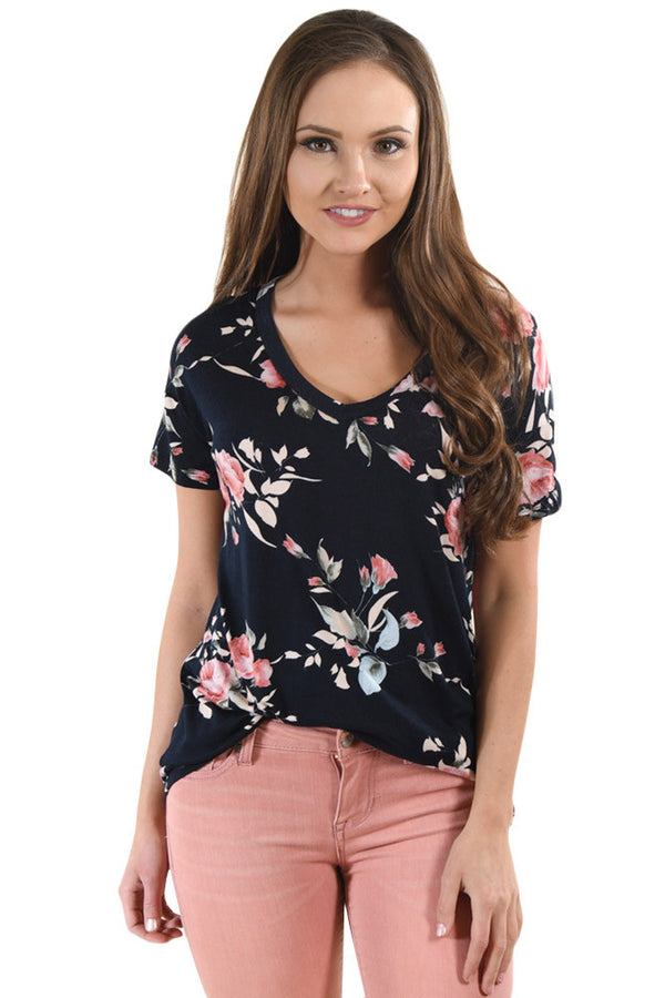 Dark Floral V Neck Short Sleeve T-shirt