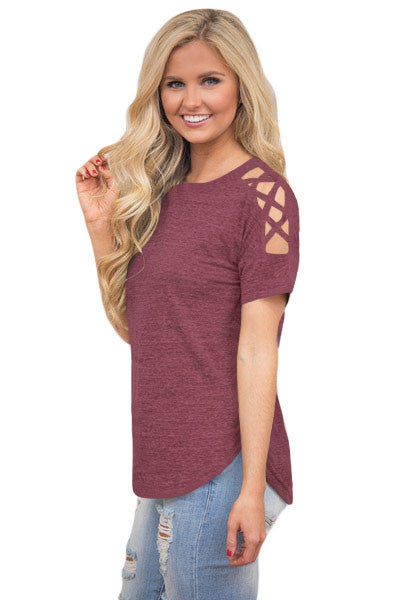 Heather Red Crisscross Detail Short Sleeve T-shirt