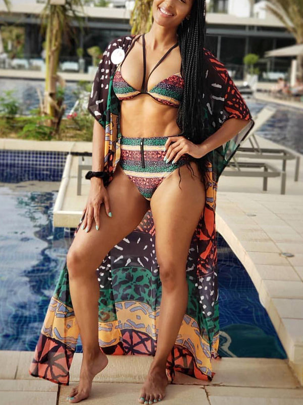 Day Dreamin' Printed High-Waist Swimsuit Set