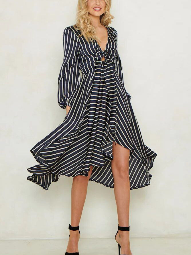 Deana Stripe Plunging Neck Midi Dress
