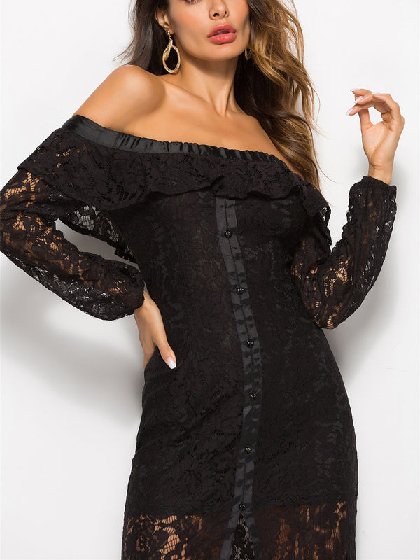 Dream Girl Off-The-Shoulder Lace Dress