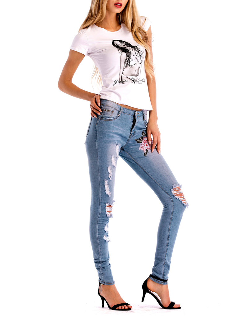 Edwina Floral Embroidered Distressed Skinny Jeans