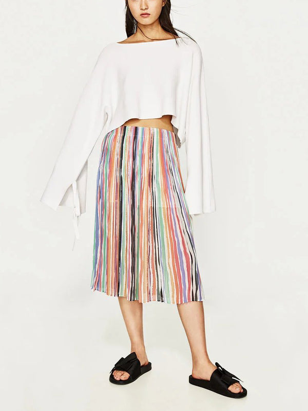 Effortless chiffon midi skirt featured in pleated style and striped details
