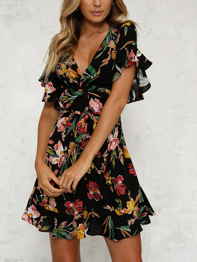 All Wrapped Up Floral Mini Dress
