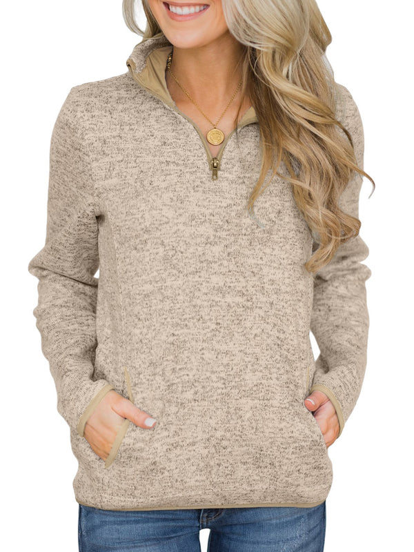 Eileen Half-Zip Heather Pullover Sweatshirt