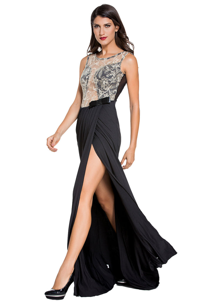Embroidered Mesh Wrap Prom Dress