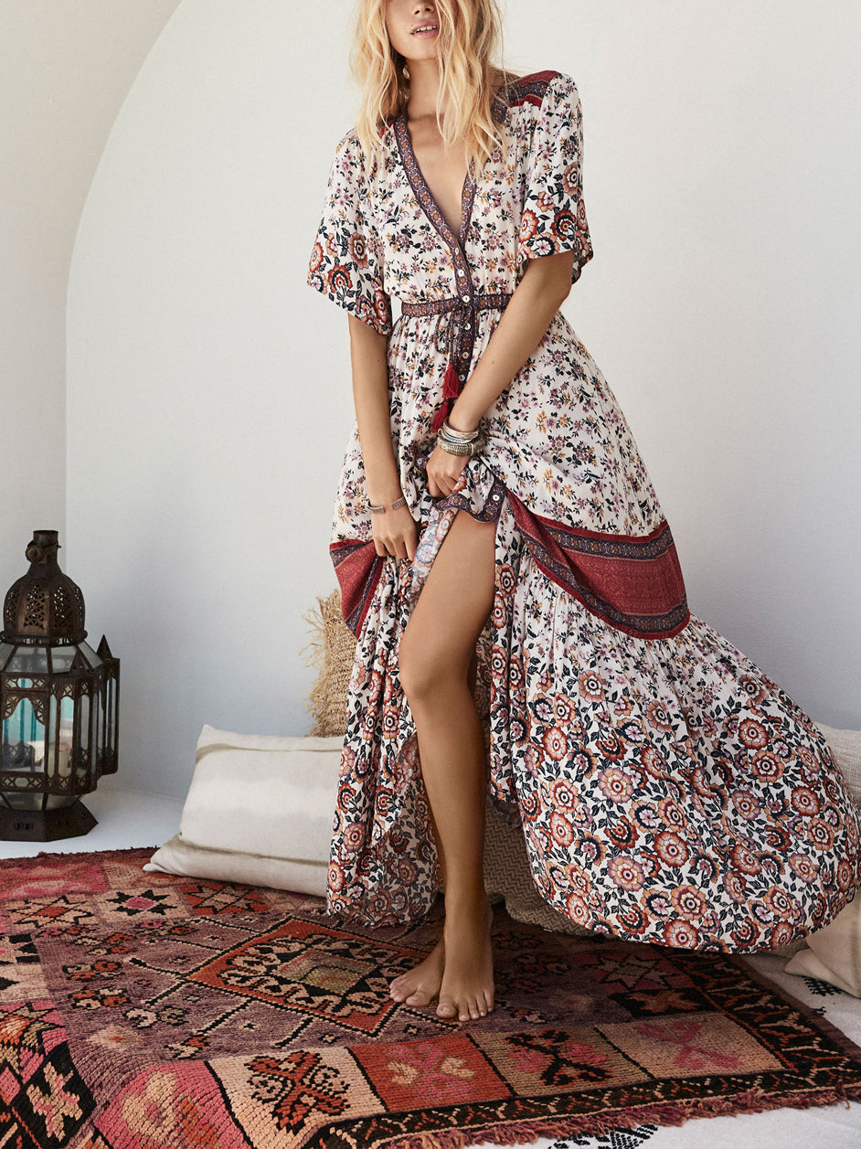 Endless Summer Boho Button-Down Floral Maxi Dress
