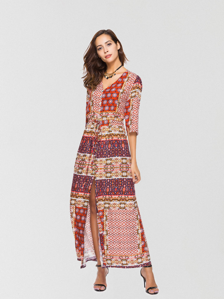Femme-printed maxi dress featured in a front button-down design with high slit trimming