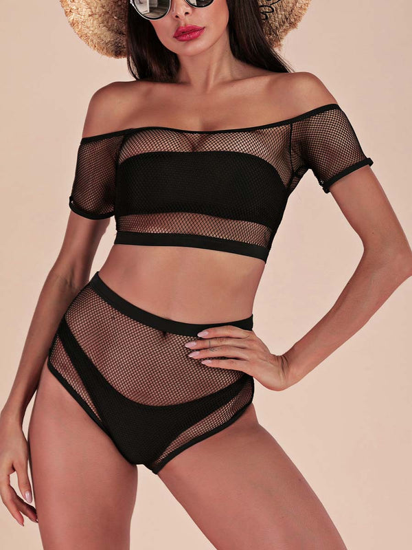 An off-the-shoulder fishnet crop top and a high-waist fishnet bikini bottom set