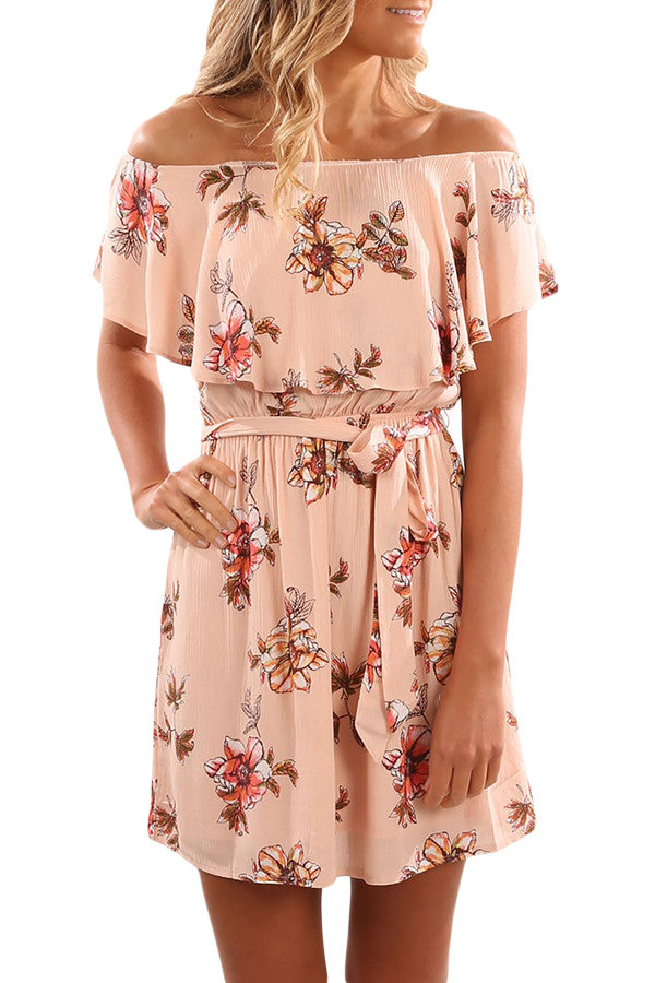 California Love Floral Print Off Shoulder Party Dress
