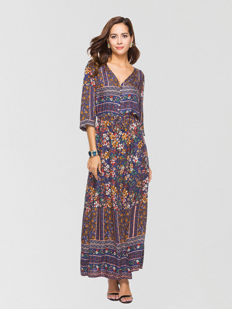 Floral-printed maxi dress featured in a front button-down design with high slit trimming