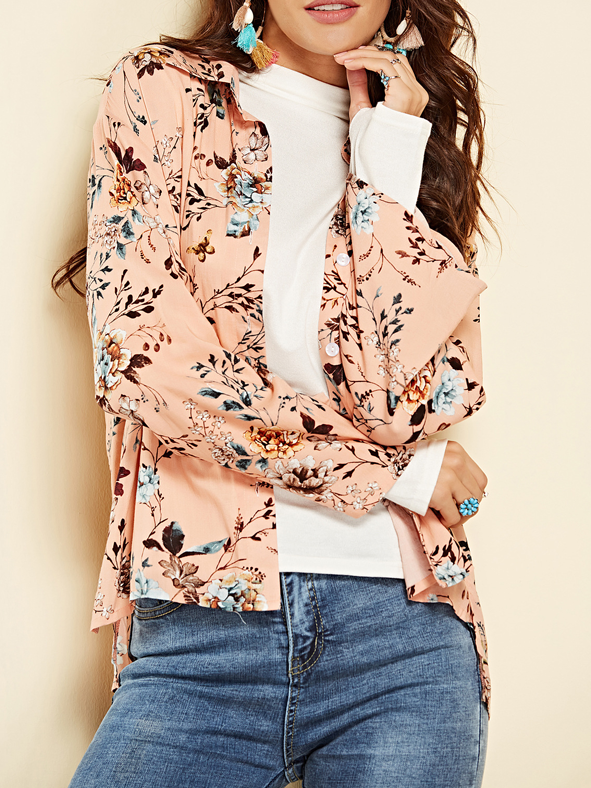 Floral Field High-Low Button Down Shirt