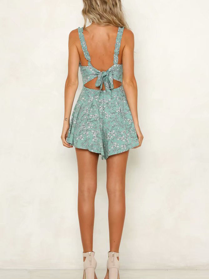 Floral Print Ruffled Lace-Up Romper