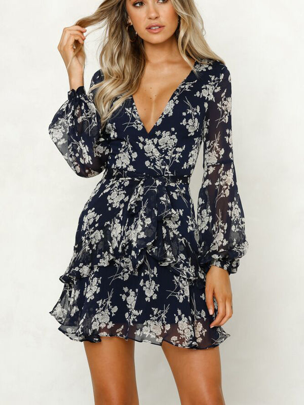 Floral Printed Surplice Neck Ruffled Mini Dress