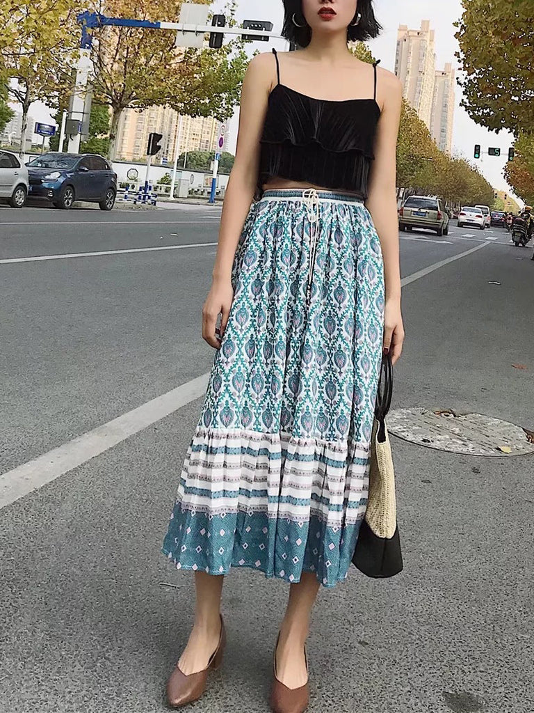 inxcy skirts midi skirts pleated skirts skirts sale skirts deals Elastic waist with drawstring design