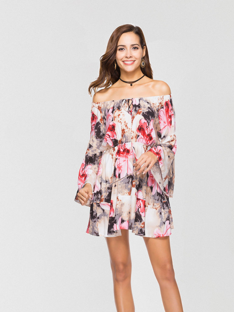 Floral printed mini dress featured in an off-the-shoulder silhouette and an oversized fit