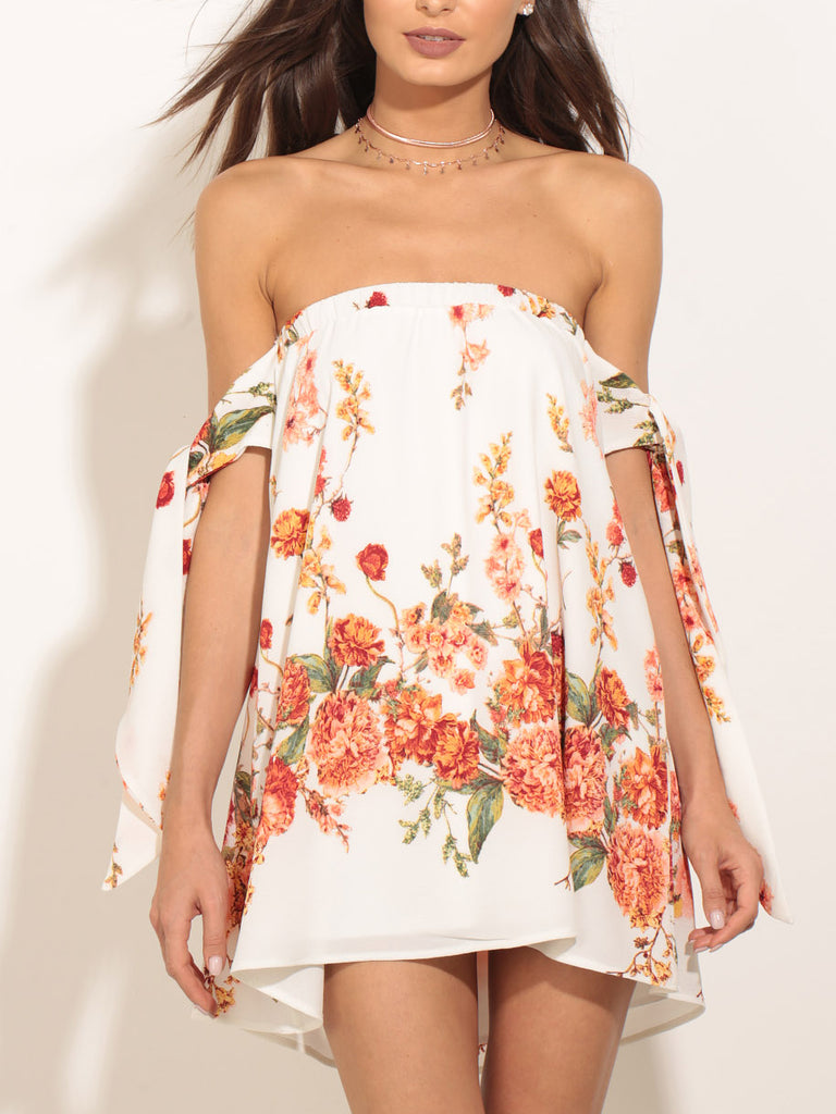 Floral printed mini dress featured in an off-the-shoulder silhouette and lace-up sleeves