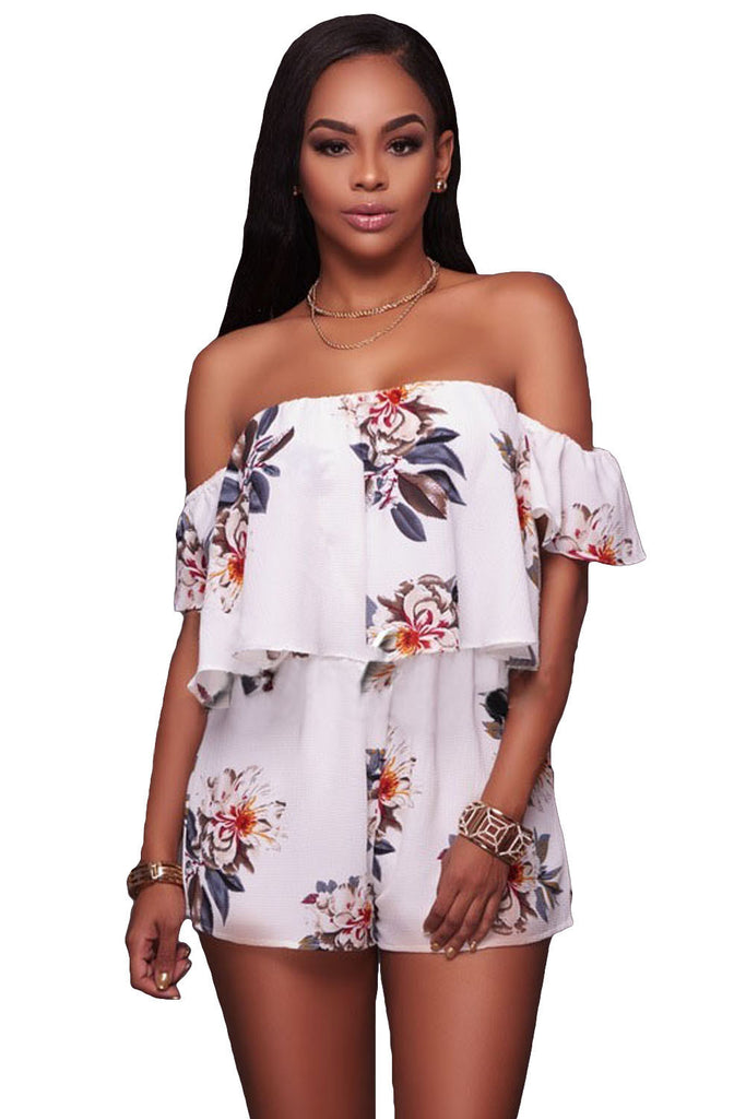 Summer Getaway Floral Print Off Shoulder Romper