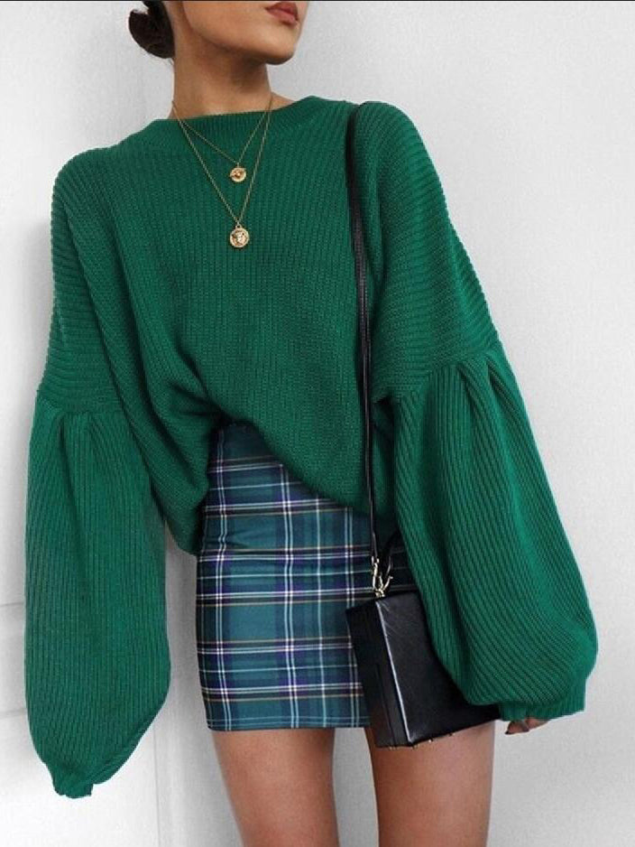 French Girl Ribbed Knit Puff Sleeve Pullover Sweater